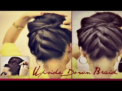 ˜�hairstyles Korean Bun Upside Down Braided Bun Updo