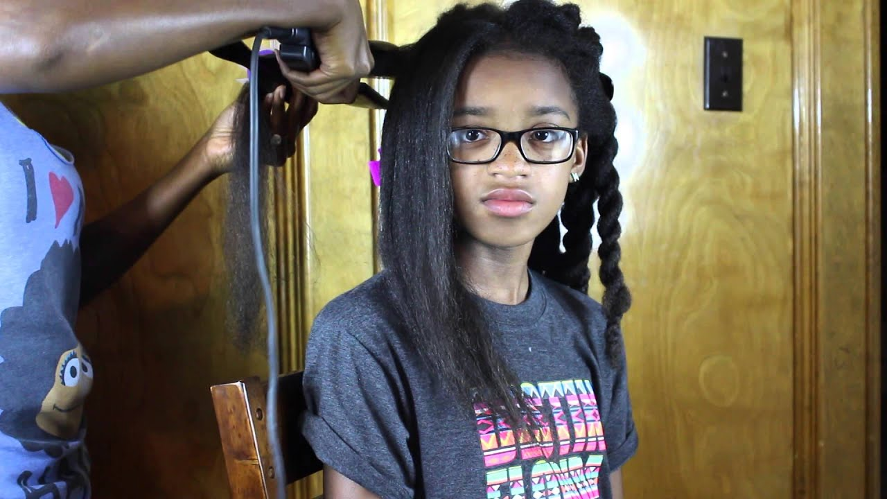 Natural Hair Flat Iron Styles: HOW I FLAT IRON MY DAUGHTERS HAIR