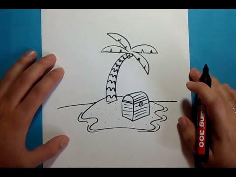 Como dibujar una palmera paso a paso 3  How to draw a palm tree 3