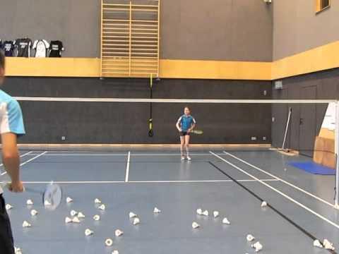 Badminton Technik - Hinterfeld Schnittdrop mit dem Bild der Axt (Art of Coaching Cutdrop Rear Court)