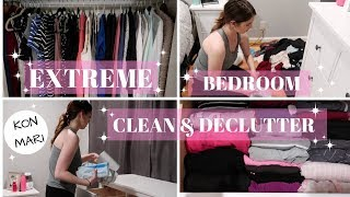EXTREME CLEANING BEDROOM / CLOSET DECLUTTER / KONMARI METHOD
