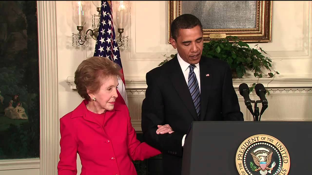 President Obama With Nancy Reagan Signs Law For Ronald