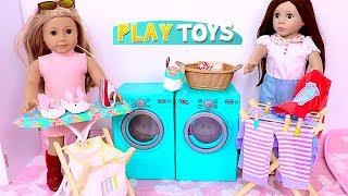 Playing Baby Dolls Laundry Washing Machine Toys!