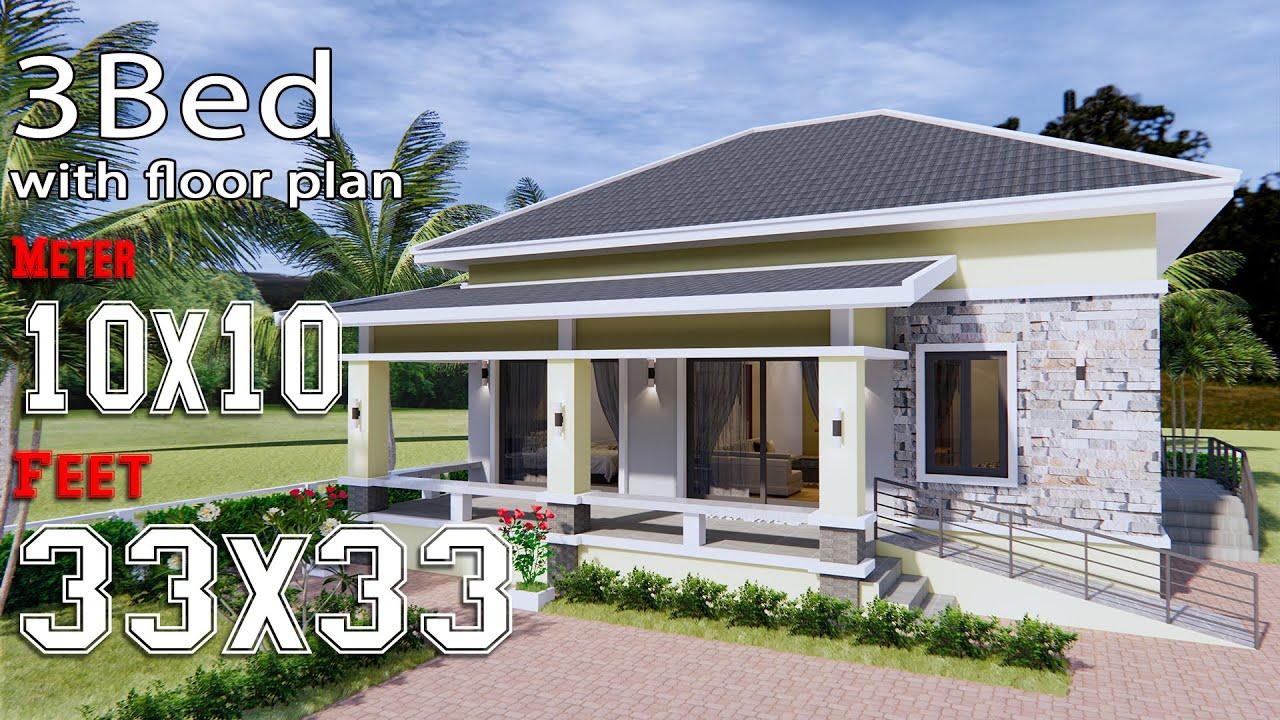 Simple House Design 10x10 Meter Hip Roof 33x33 Feet Full Plans Youtube
