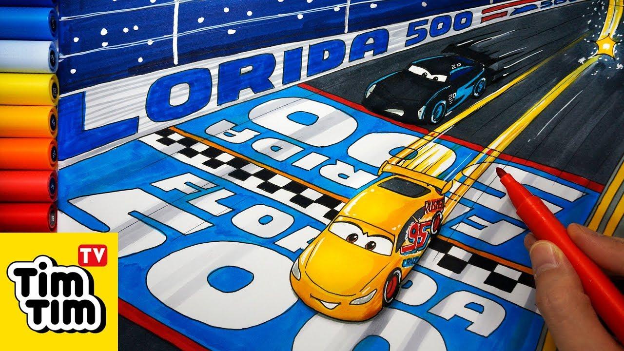 How To Draw Cars 3 Final Race Cruz Ramirez Beats Jackson