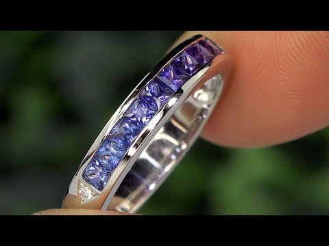 AIG Certified Stunning Fancy Princess Cut Sapphire and Diamond 18k White Gold Ring