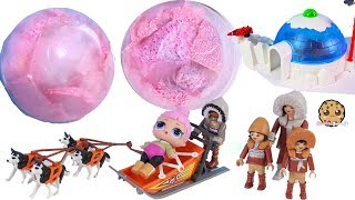 Nice Ice Surprise ! Frozen LOL Pets Blind Bags + Arctic Snow Playmobil Playsets - Video