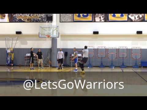 Kevin Durant left knee rehab with Warriors (57-14) asst coach Bruce Fraser, AM shootaround b4 Kings