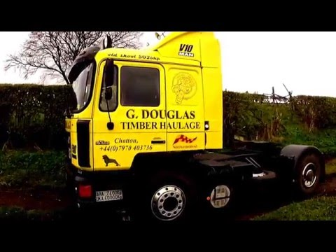 MAN F90 V10 engine sound straight though pipes 19.502 truck tractor unit LKW HGV Camion road drive.