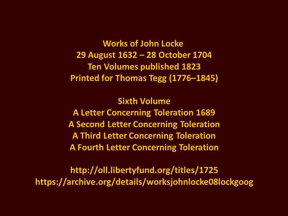 John Locke First Letter OnToleration 1689