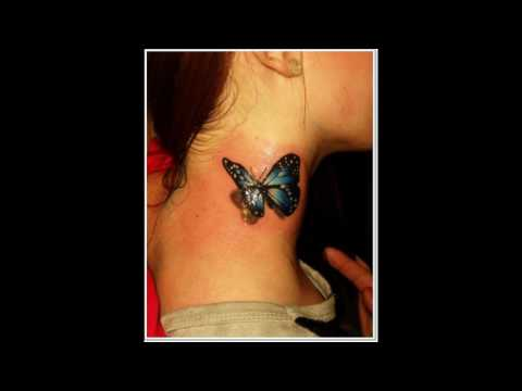 Neck tattoo | butterfly - star - rose ideas