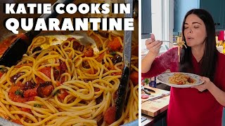 Katie Lee Cooks Pasta Puttanesca in Quarantine | Food Network