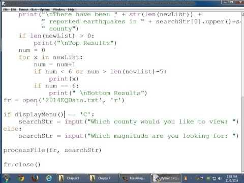 CIT1203 Script Programming Earthquake Program Modificaiton