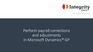 Perform payroll corrections and adjustments in Dynamics GP with Negative Payroll Transactions