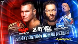 WWE Survivor Series 2020 Official Match Card V1