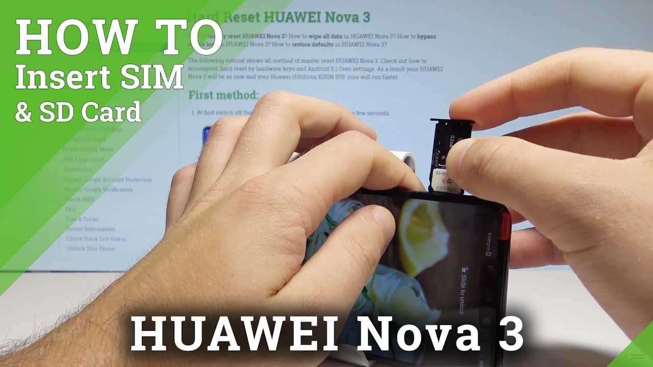 How to Insert SIM & SD in HUAWEI Nova 3 - Install Nano SIM and SD Card