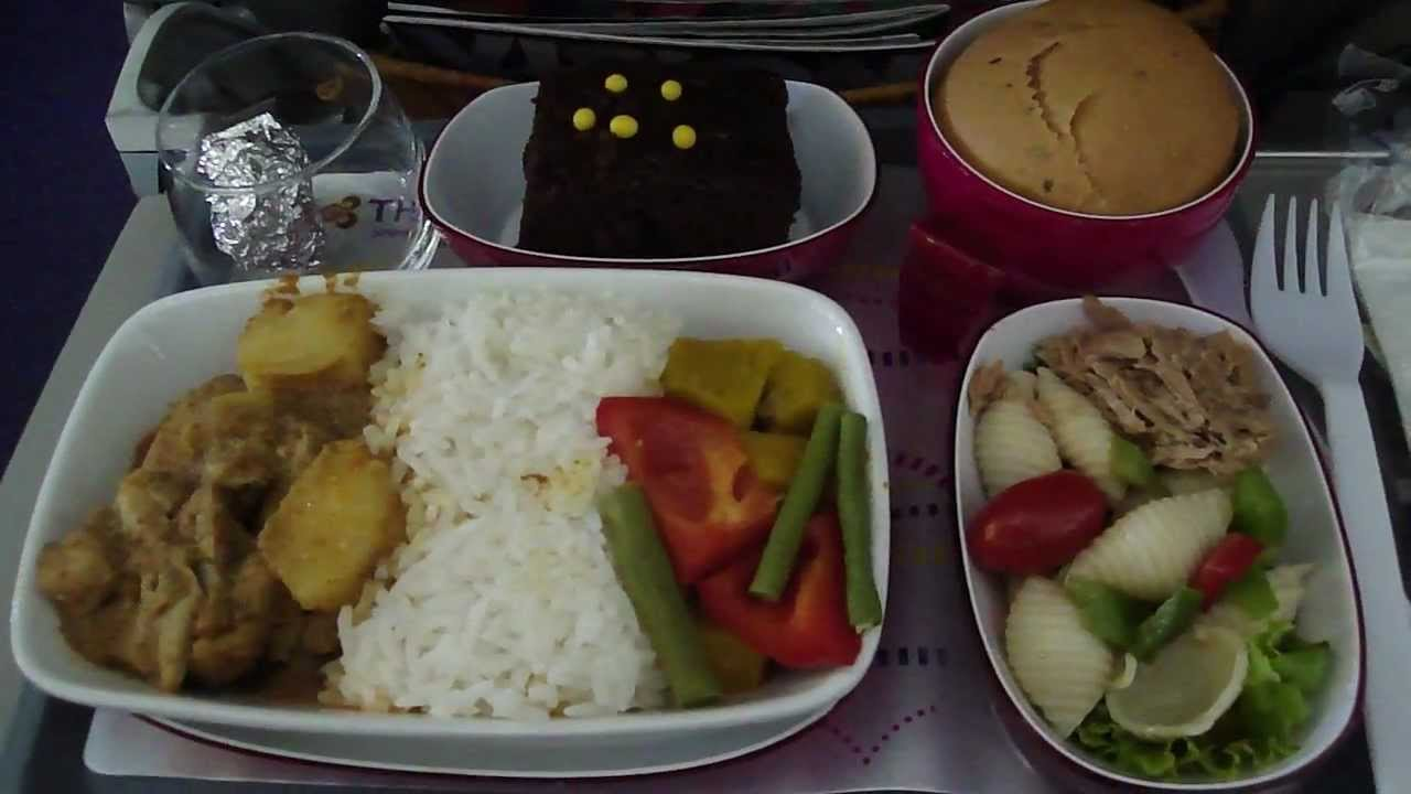 In flight meal on thai airways flight tg322 youtube for Air thai cuisine