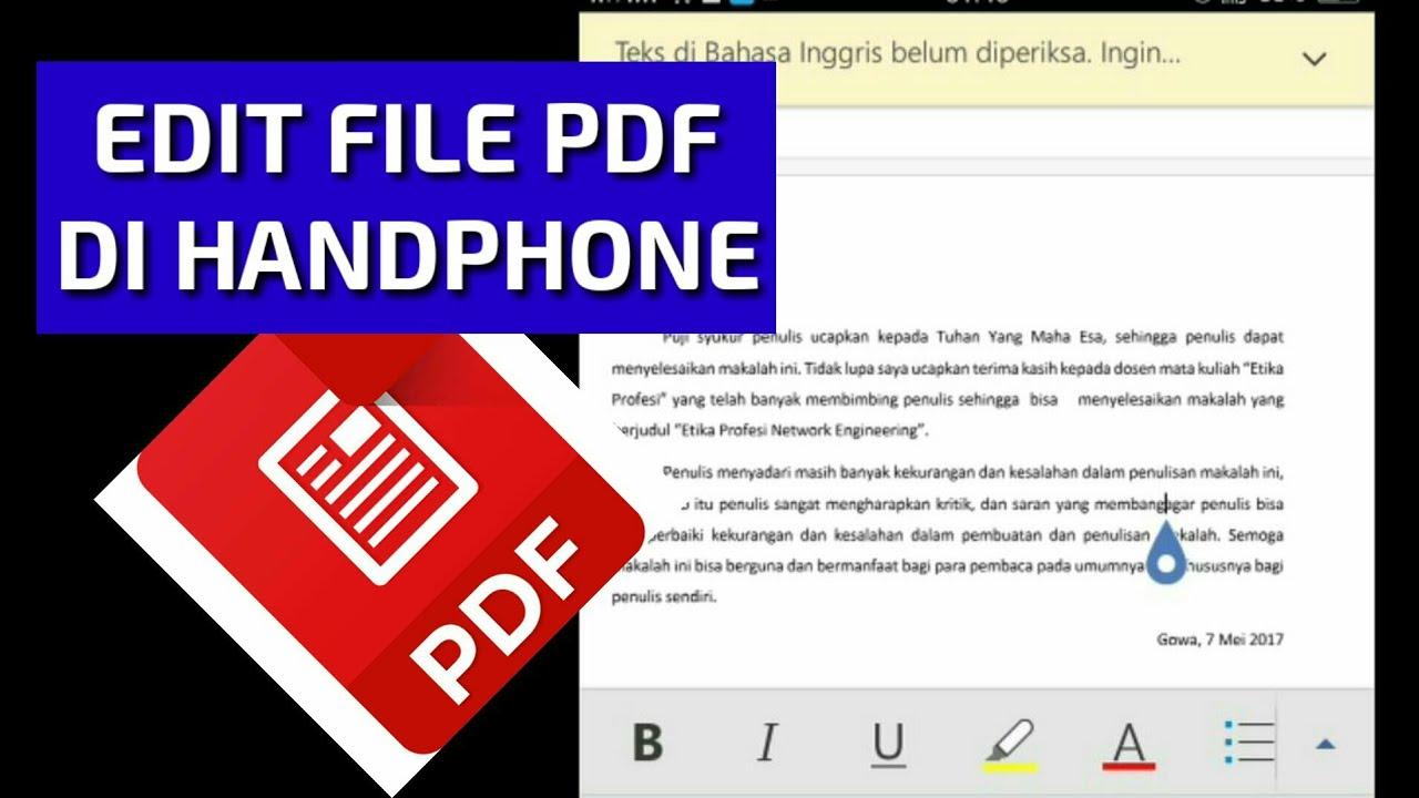 Cara Edit File Pdf Di Hp Youtube