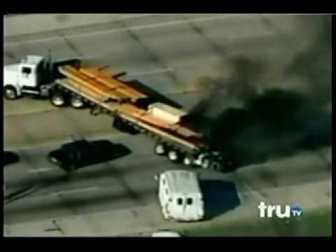 Best Police Chase Ever - Burning Transport Truck, Trucker gets shot