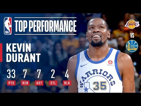 Kevin Durant Leads Warriors Past Lakers With 33 Pts | December 22, 2017