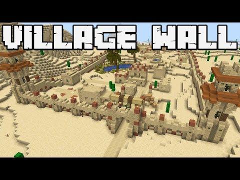 How To Defend Against A Pillager Raid : DESERT VILLAGE WALL: MINECRAFT 1.14 [WORLD DOWNLOAD]