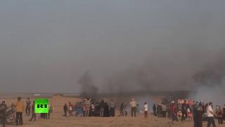 Palestinos continúan su protesta en la frontera entre la Franja de Gaza e Israel