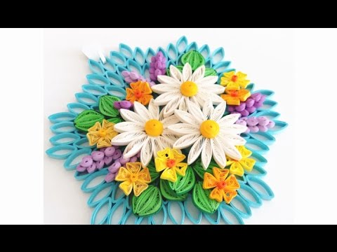 Paper quilling flower for wall hanging decoration 18 diy for How to make a flower wall hanging