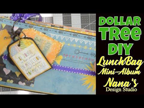 Dollar Tree BIG Yellow Lunch Bag MINI-ALBUM!!  DIY Mini-Album with Dollar Tree Lunch Bags!!!
