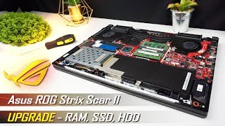 Asus ROG Strix Scar II upgrade (RAM, SSD, HDD) - Disassembly Guide (detailed)