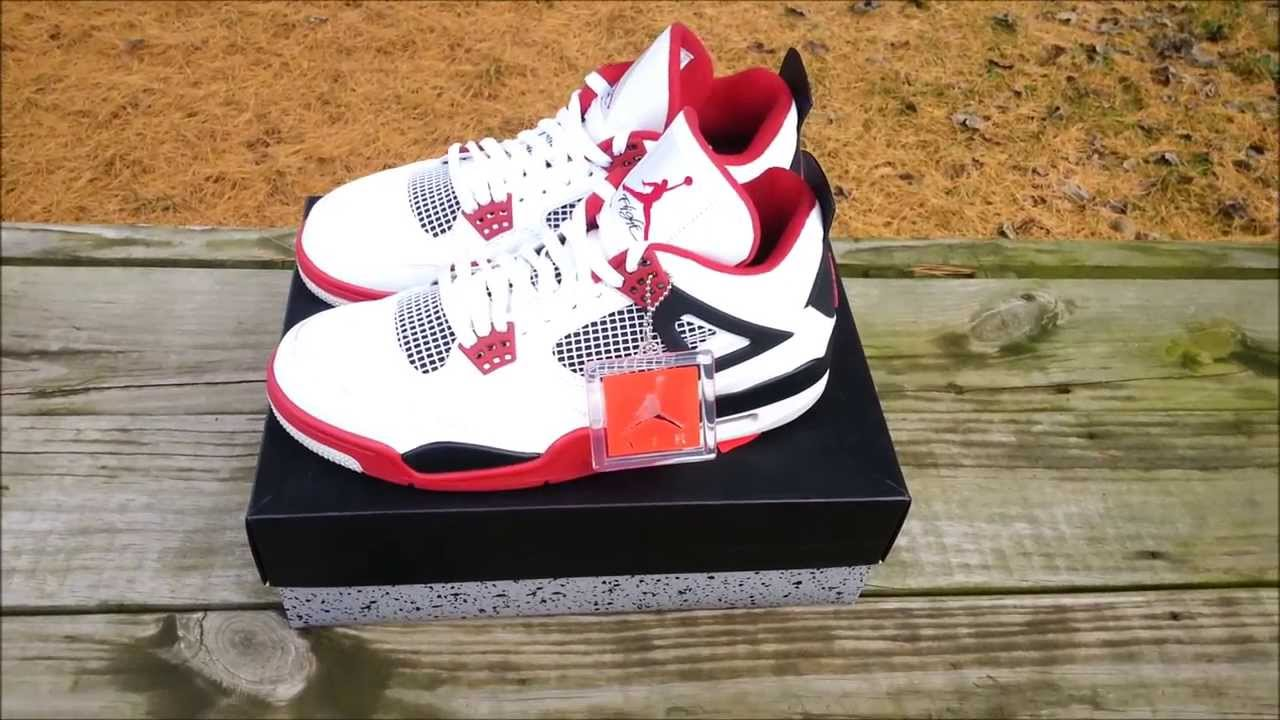 60cd4916afe61d Air Jordan Retro Fire Red 4s White Red Black REVIEW   ON FEET - YouTube
