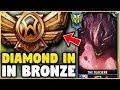 I TOOK MY MALPHITE BOOSTING STRAT INTO BRONZE! DIAMOND MALPHITE VS BRONZE ELO! - League of Legends
