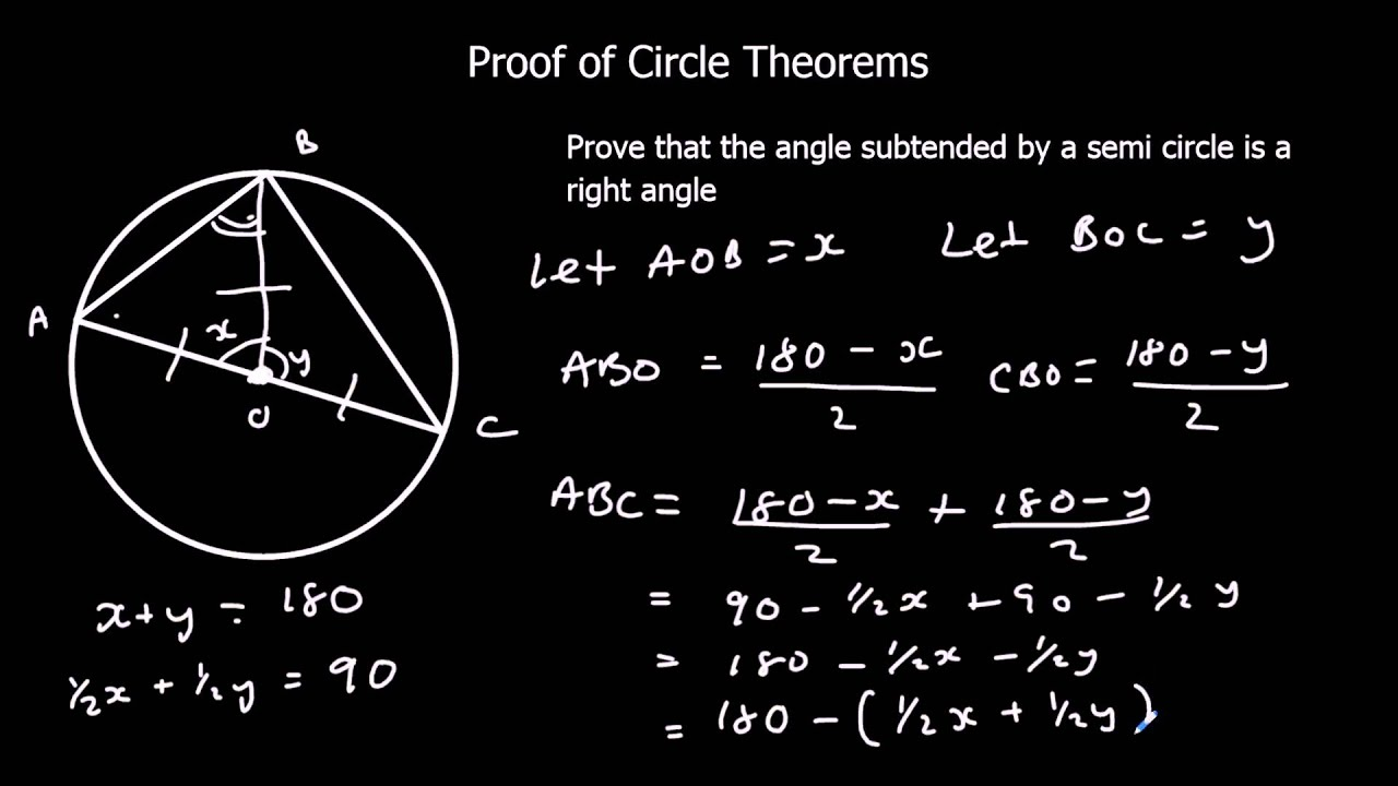 Proof Of Circle Theorems Youtube