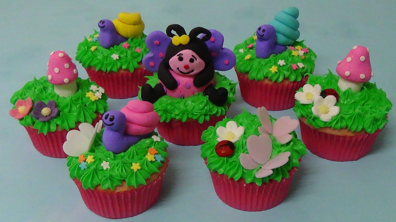 Fairy garden cupcakes youtube for How to make fairy cupcakes