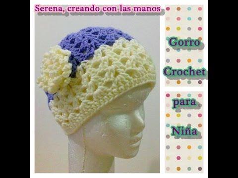 Como tejer gorro crochet ganchillo para niña con flor - YouTube 4fec3fd7628