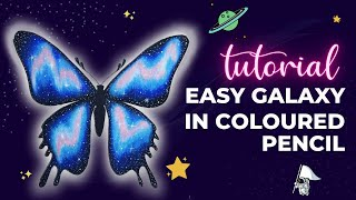 Easy Galaxy Colouring Tutorial with Coloured Pencils