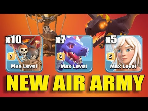 7 Max Dragon + 5 Healer +10 Balloon = New Air 3 Star Army Th11 Max Level | New Th11 Push Style 2018