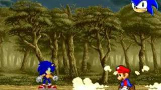Funny! Sonic vs Mario Fight