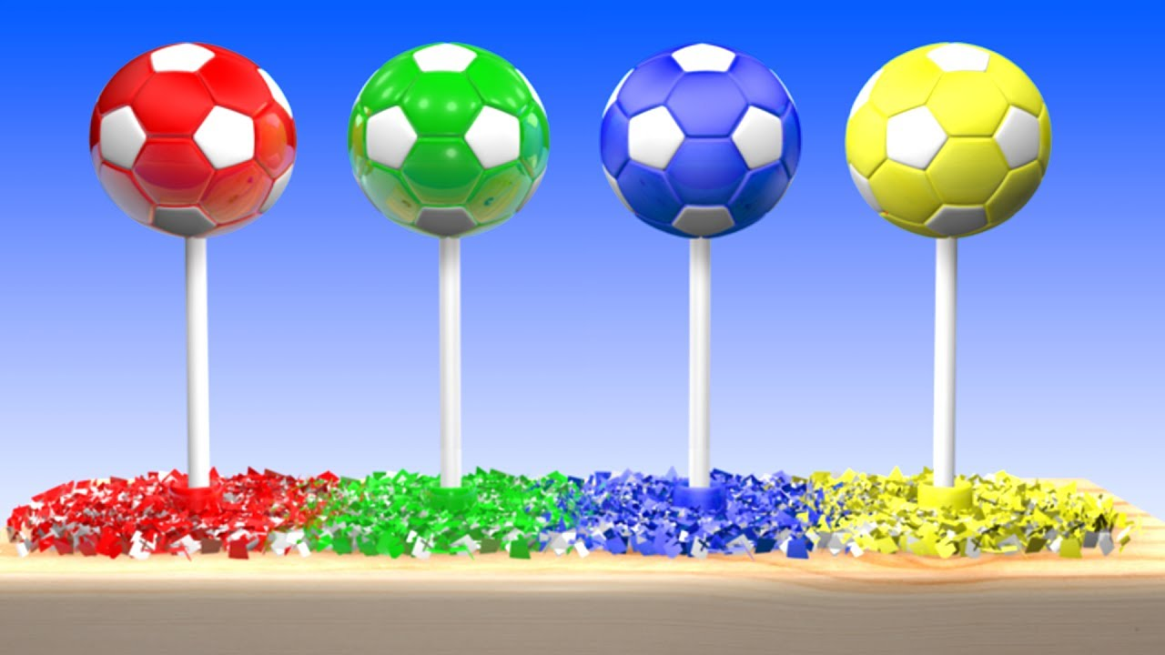 - Learn Colors With 3D Soccer Balls Lollipop Balloons Popping Show