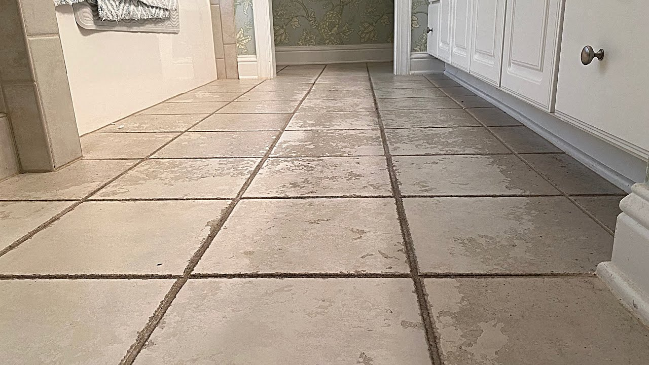 Extremely DIRTY tile with years of wax buildup gets cleaned to perfection