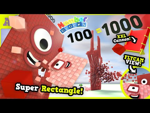 BOOM! Super Rectangle Numberblock 1000 vs 100 in Crash Party! XXL Awesome Cannon + SlowMo Flycam!