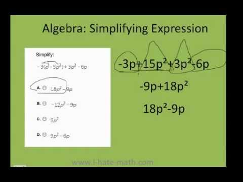How to simplifying expressions PERT test Practice - YouTube