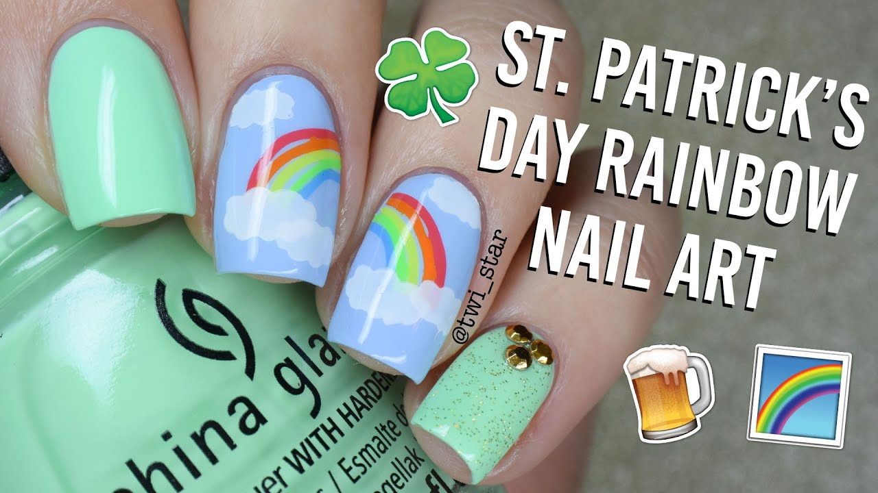 St. Patrick\'s Day Rainbow Stamping Nail Art || TWI_STAR - YouTube