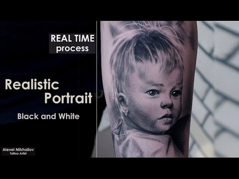Black and grey #tattoo techniques shading - #portrait #REALISTIC - REAL TIME - How to make