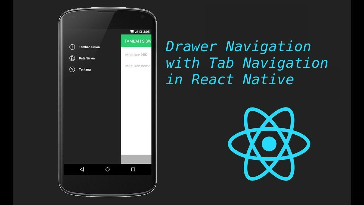 React-Native tutorial # 20 Drawer navigation with tab navigation tutorial
