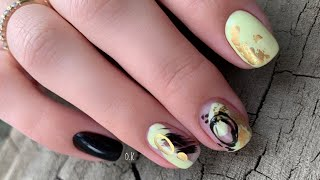Абстрактный дизайн ногтей маникюр себе левой рукой