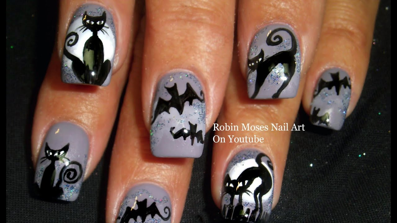 Nail Art | Easy Halloween Nails | Bats & Cats Design Tutorial - YouTube