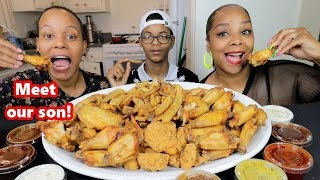 FRIED CHICKEN WINGS MUKBANG | MOTHERS & SON!!!