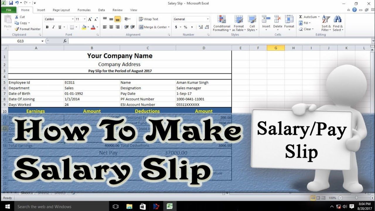 How to Make Salary Slip In Excel | Salary Pay Slip - YouTube