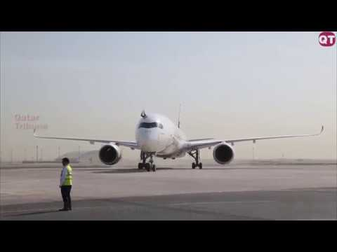 Qatar Airways welcomes Airbus A350-1000 test aircraft to Doha.
