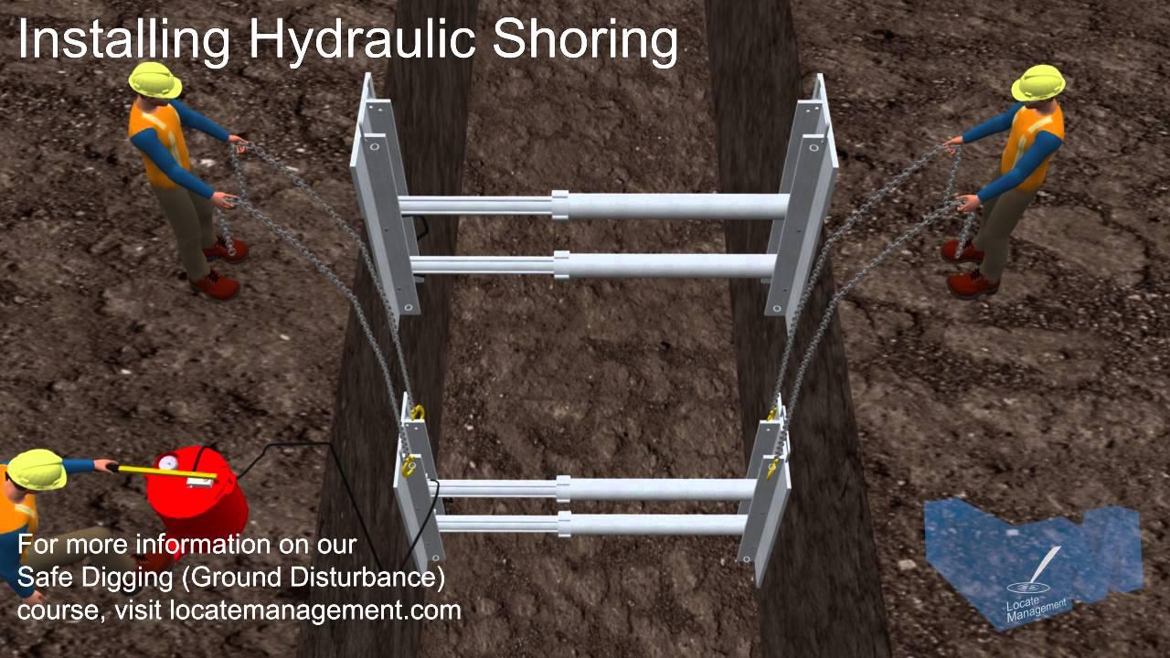 Hydraulic Shoring Jacks : Instaling hydraulic shoring youtube